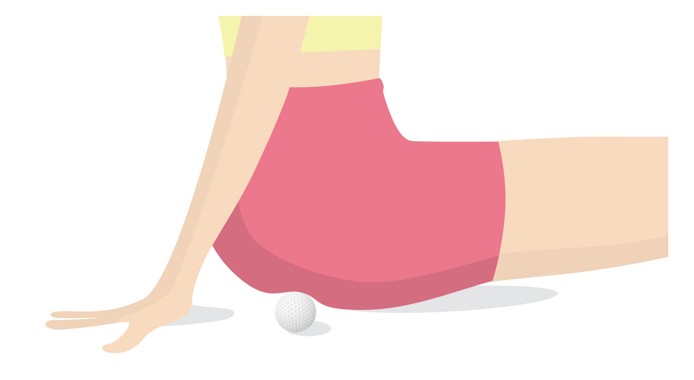 ゴルフボールでお尻のマッサージ