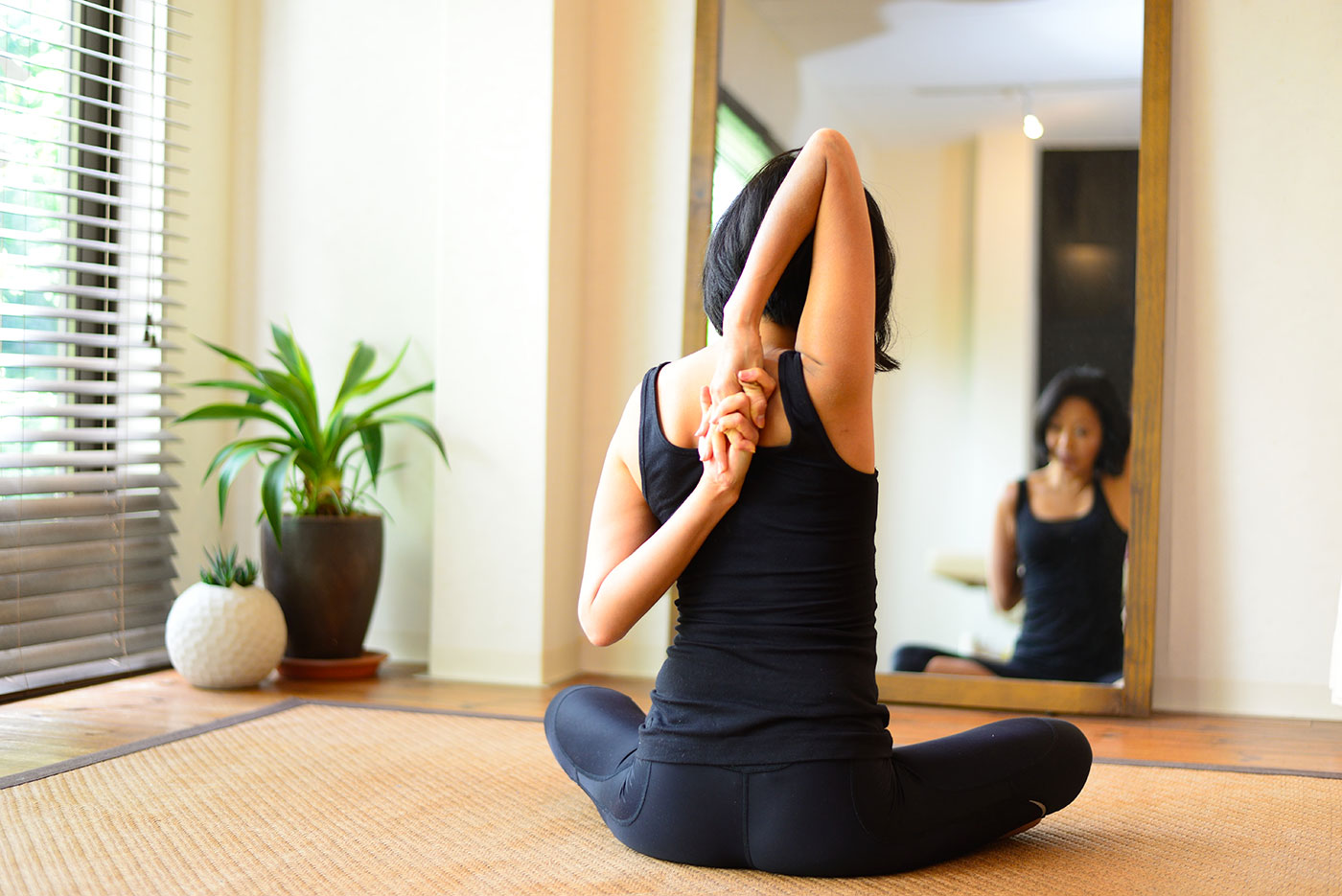 呼吸をしながら、伸ばす場所を意識して